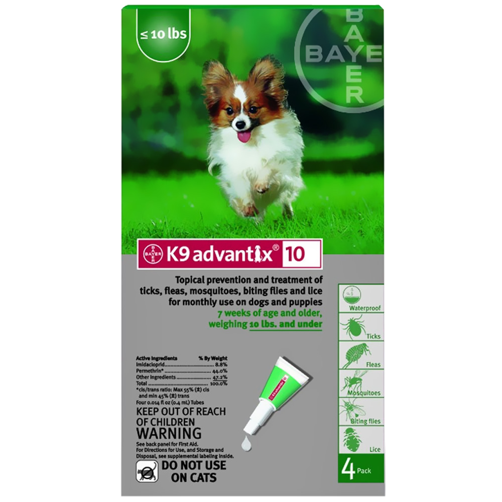 4 Month K9 Advantix Green (Dogs up to 10lbs.)