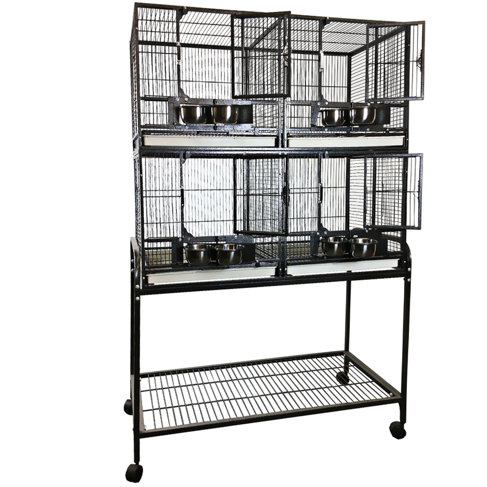 4 Unit Bird Cage with Stand & Removable Divider - Black - 40x20x61 - from EntirelyPets