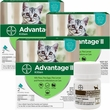 6 MONTH Advantage II Flea Control for Kittens (2-5 lbs) + Tapeworm Dewormer for Cats (3 Tablets)
