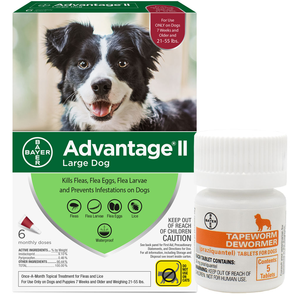 6 Month Advantage II Flea Control (Large Dogs 21-55 lbs) + Tapeworm Dewormer (5 Tabs)
