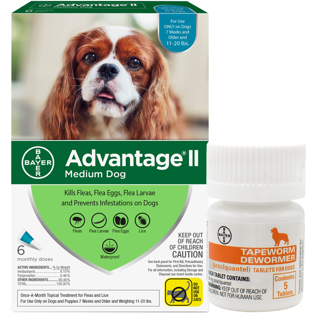 6 MONTH Advantage II Flea Control for Medium Dogs (11-20 lbs) + Tapeworm Dewormer for Dogs (5 Tablets) im test