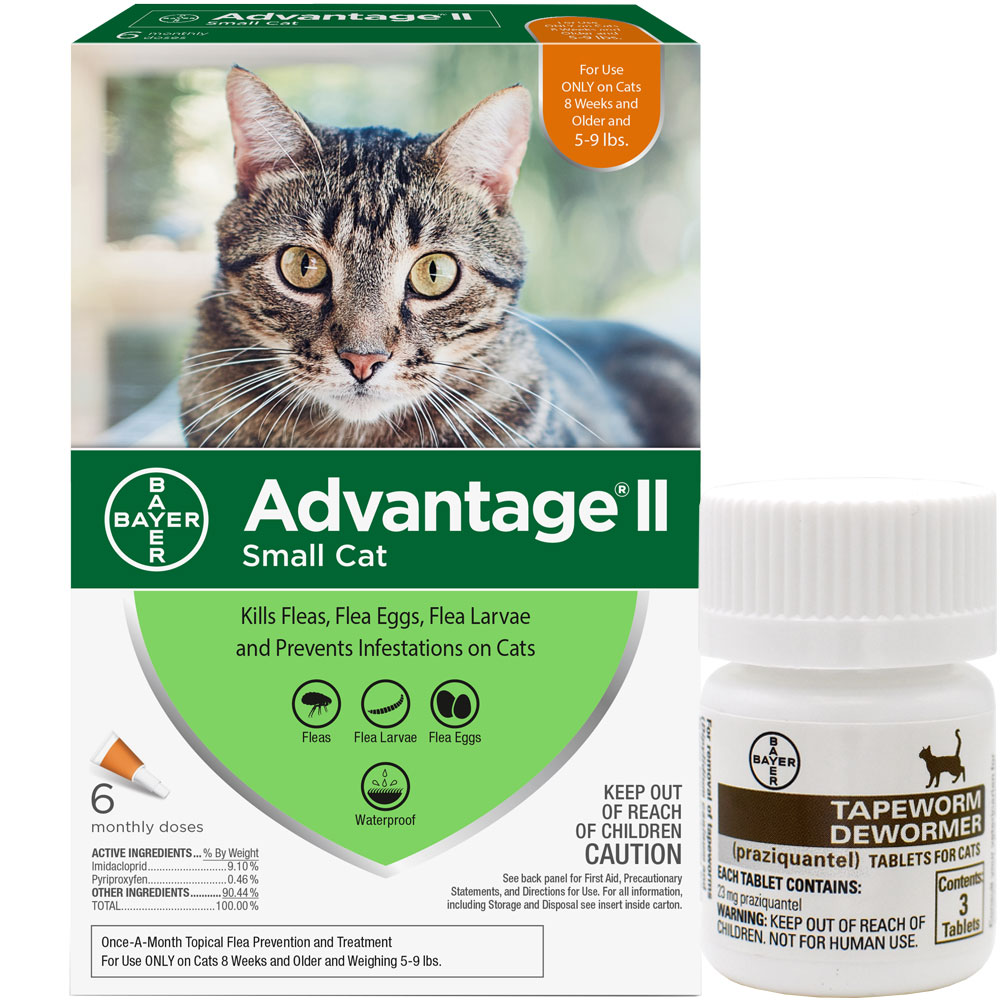 6 MONTH Advantage II Flea Control for Small Cats (5-9 lbs) + Tapeworm Dewormer for Cats (3 Tablets) im test