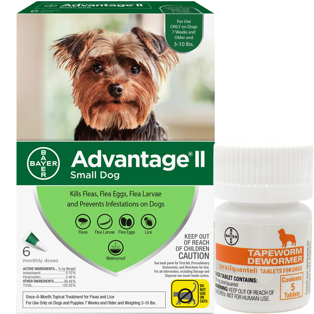 6 MONTH Advantage II Flea Control for Small Dogs (under 10 lbs) + Tapeworm Dewormer for Dogs (5 Tablets) im test