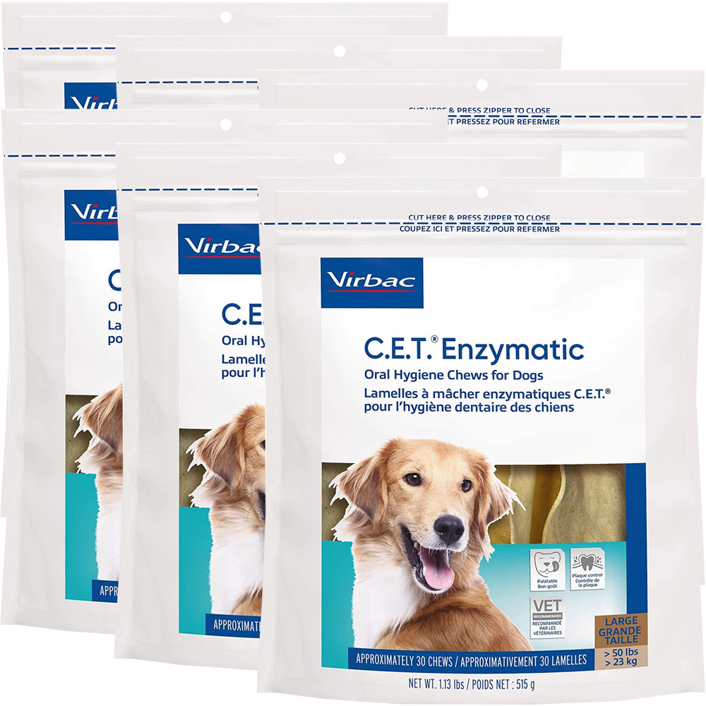 6-PACK CET Enzymatic Chews for Large Dogs (180 Chews)