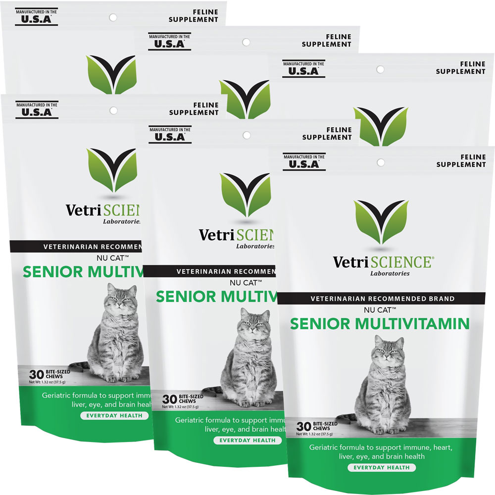 NuCat Senior Multivitamin for Cats 6-PACK (180 Bite-Sized Chews)