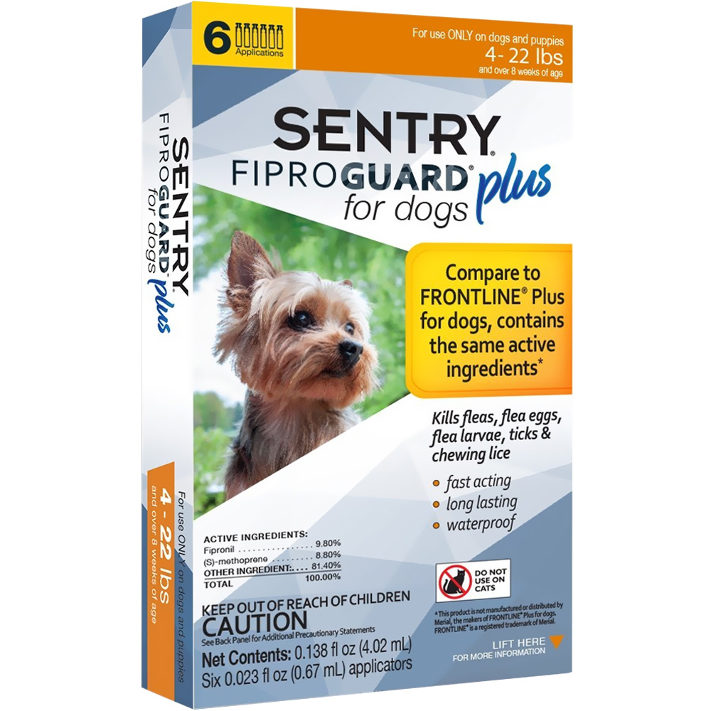 6-PACK SENTRY FiproGuard Plus Flea & Tick Spot-On for Dogs (4-22 lbs) im test