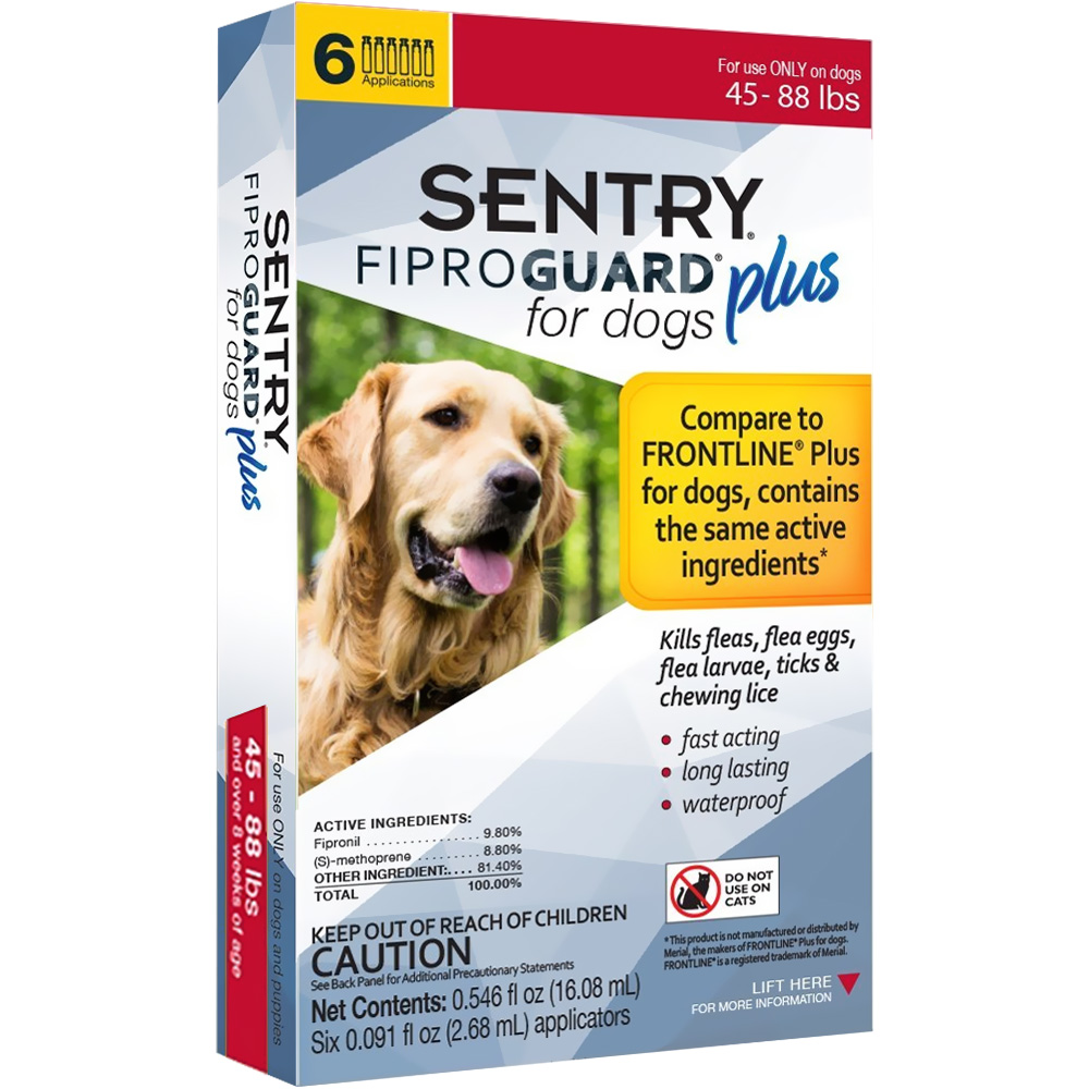 6-PACK SENTRY FiproGuard Plus Flea & Tick Spot-On for Dogs (45-88 lbs) im test