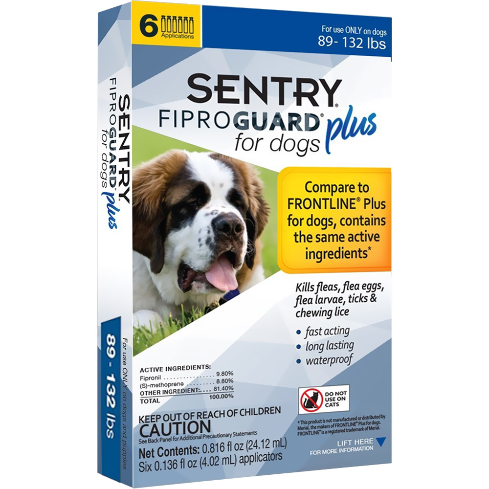 6-PACK SENTRY FiproGuard Plus Flea & Tick Spot-On for Dogs (89-132 lbs) im test