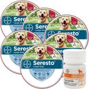 6-PACK Seresto Flea & Tick Collar for Large Dogs + Tapeworm Dewormer for Dogs (5 Tablets)
