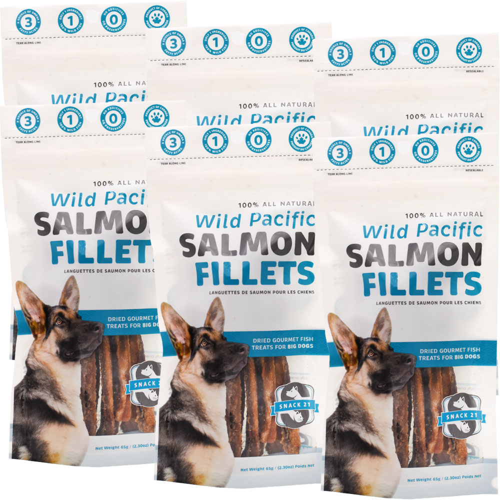 Snack 21 Wild Pacific Salmon Fillets for Big Dogs 6-PACK (390 g) im test