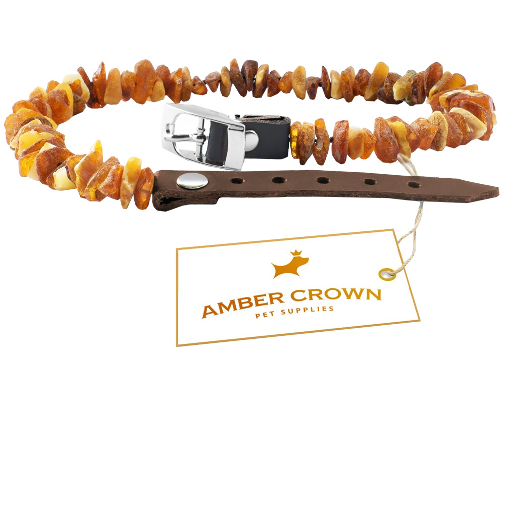 "Image of ""Amber Crown Flea & Tick Collar with Adjustable Leather Straps (8""""-10"""")"""