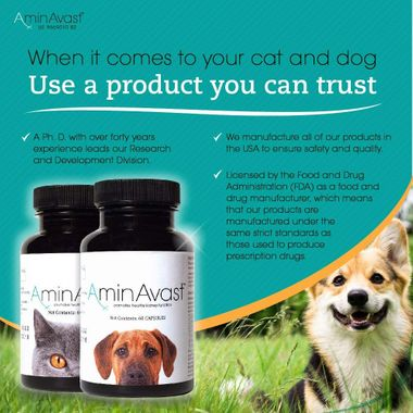 Two bottles of AminAvast for dogs and the other for cats next to sources of trust and quality