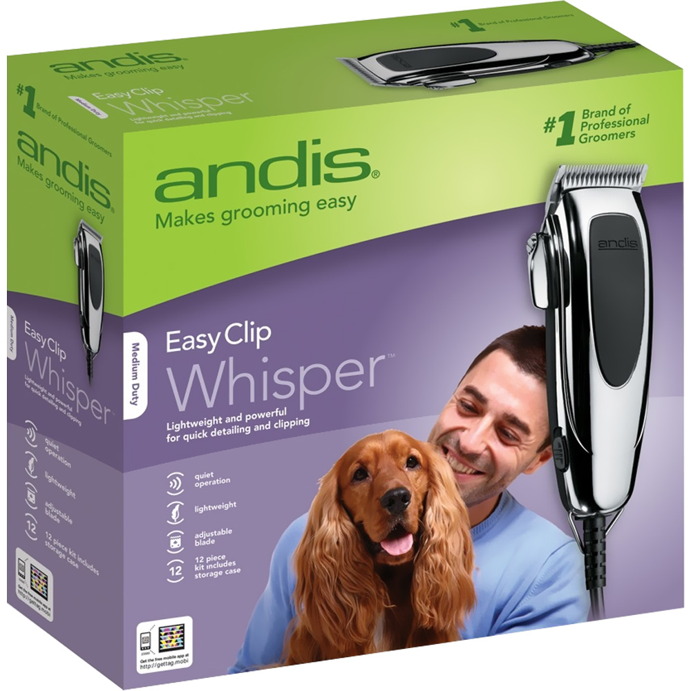 Andis EasyClip Whisper Super Deluxe Pet Clipper Kit - 12 Pieces - For Dogs - from EntirelyPets