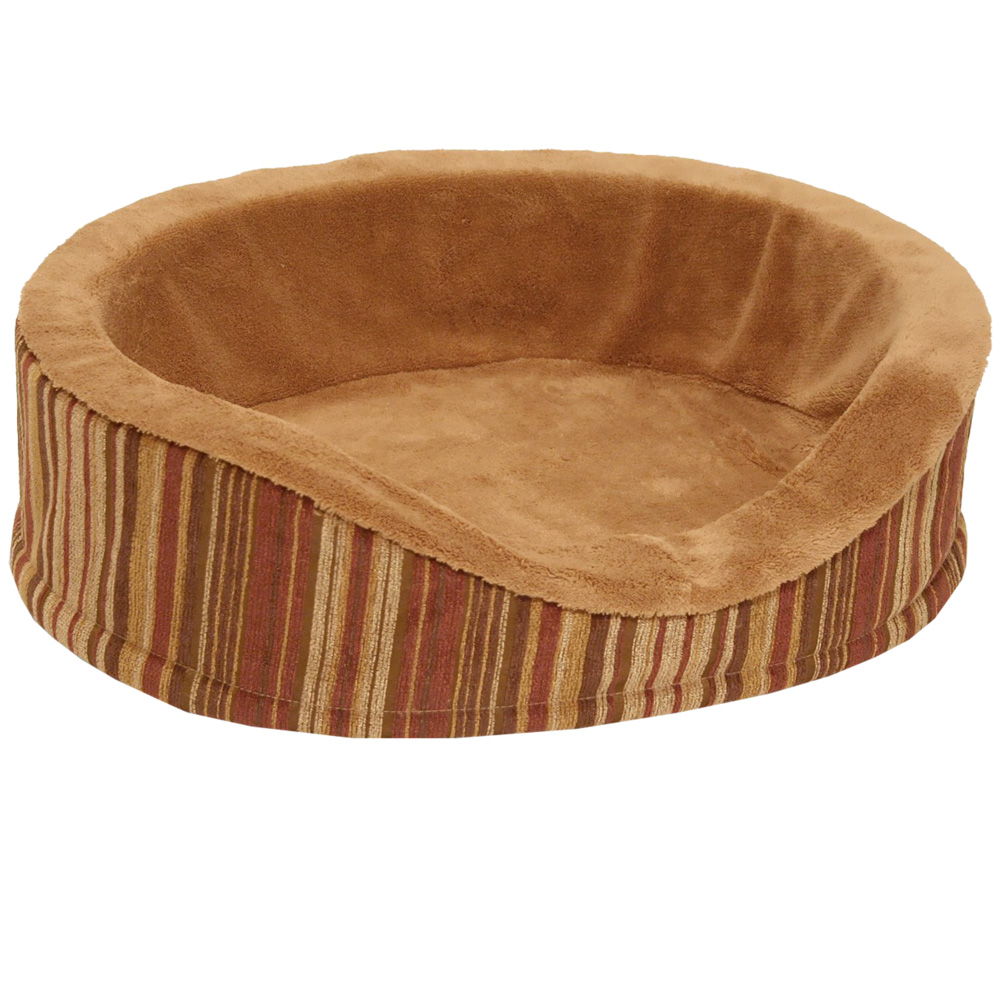 """Image of """"Aspen Pet Antimicrobial Deluxe Oval (18"""""""") - Caramel/Stripe Chenille"""""""