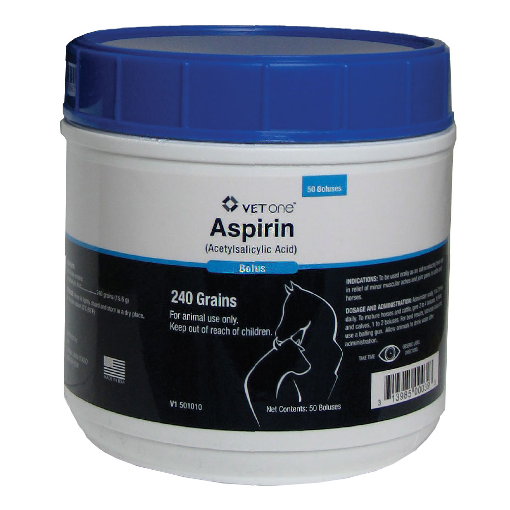 Aspirin (Acetylsalicylic Acid) Bolus, 240 Grains, 50 Count im test