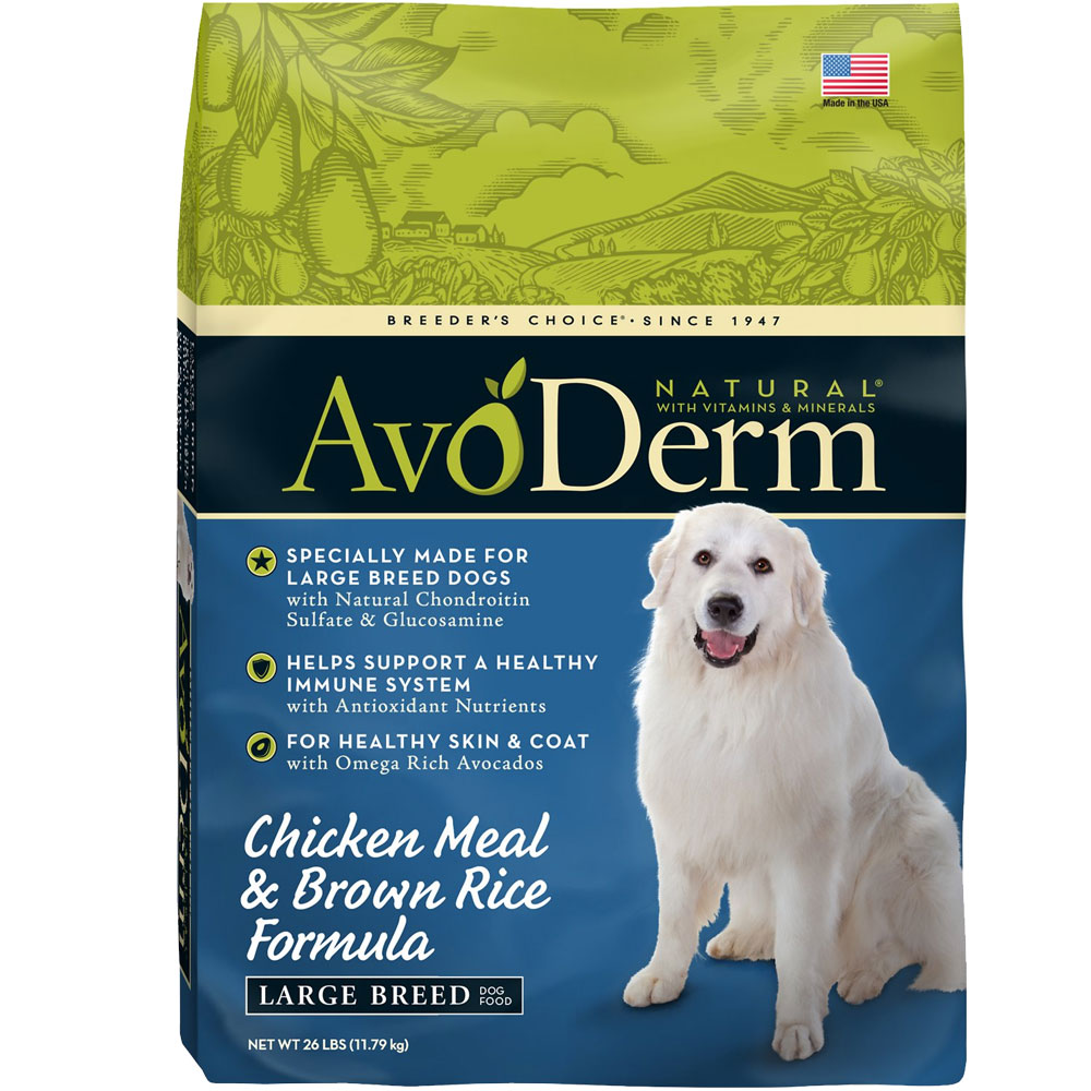 Image of AvoDerm Chicken Meal & Brown Rice Formula Large Breed Dry Dog Food (26 lb)