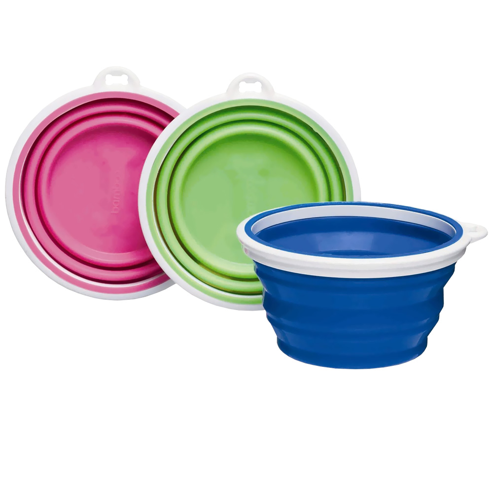 http://www.entirelypets.com - Bamboo Silicone Travel Bowl 1 Cup – Assorted 7.09 USD