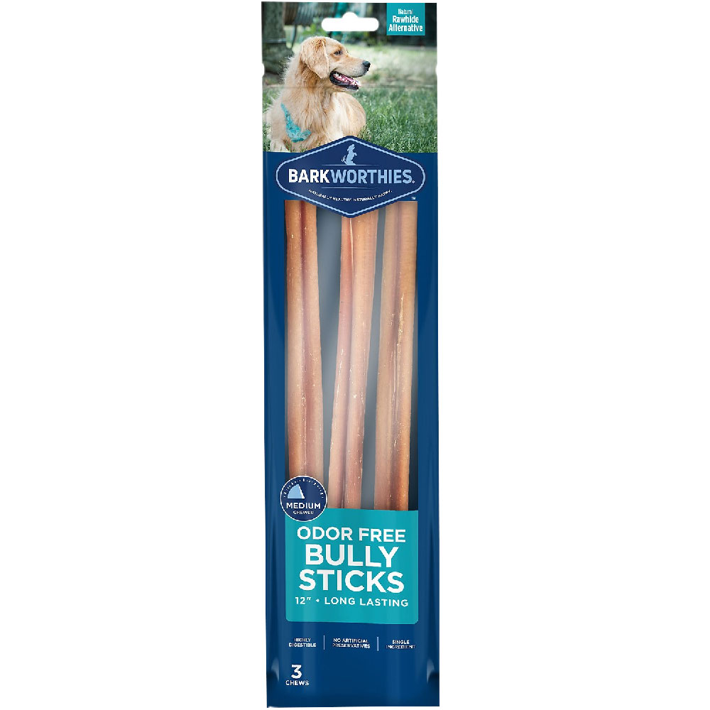 """Barkworthies Odor-Free 12"""" Bully Stick Dog Treats (3 pack)"" im test"