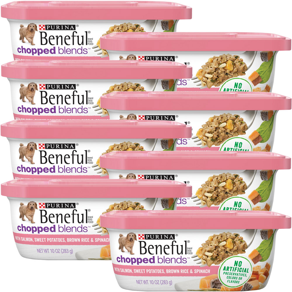 Image of Beneful Chopped Blends - Salmon, Sweet Potatoes, Brown Rice & Spinach Wet Dog Food (8x10 oz)