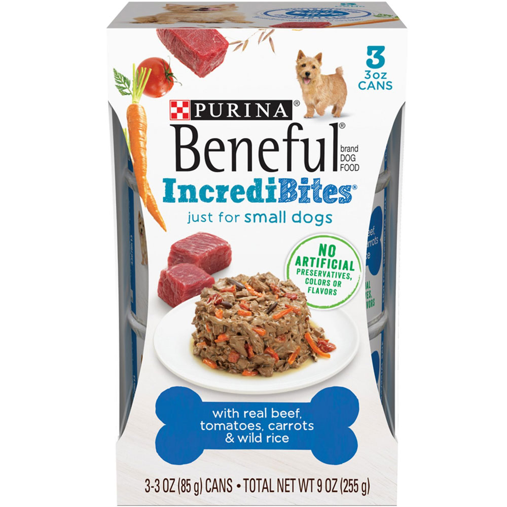 Image of Beneful IncrediBites for Small Dogs - Real Beef, Tomatoes, Carrots & Wild Rice Canned Dog Food (3x3 oz)