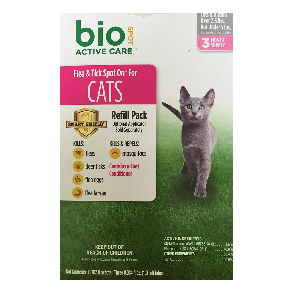 Bio Spot Active Care Flea & Tick Spot On for Cats (Under 5 lbs) - 3 Months im test