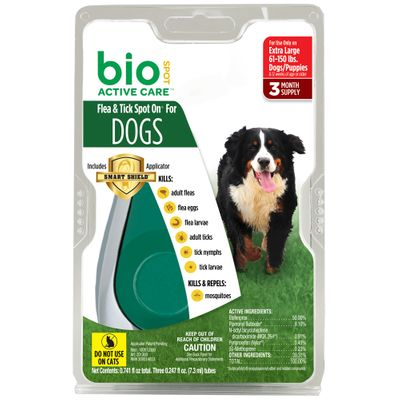 Bio Spot Active Care Flea & Tick Spot On for XLarge Dogs (61-150 lbs) - 3 Months