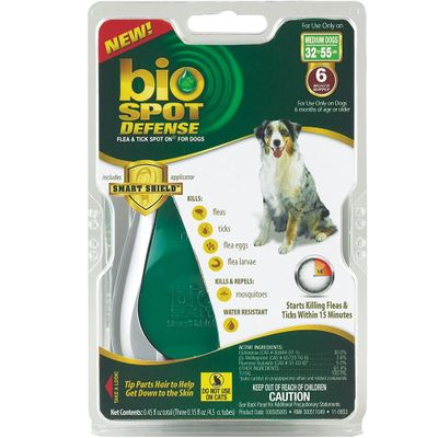 Bio Spot Defense with Smart Shield Applicator for Dogs (6 month) - Medium 32-55 lbs