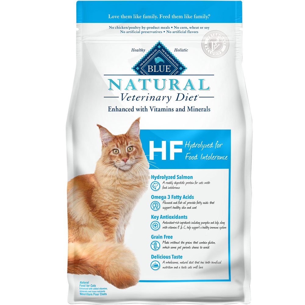Image of Blue Buffalo Natural Veterinary Diet - HF Hydrolyzed for Food Intolerance Dry Cat Food (4x7 lb)
