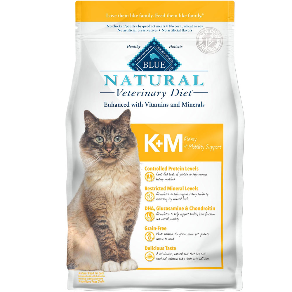 Image of Blue Buffalo Natural Veterinary Diet - KM Kidney + Mobility Support Dry Cat Food (4x7 lb)