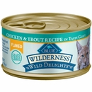 Blue Buffalo Wilderness Wild Delights Flaked Chicken & Trout Grain-Free Canned Cat Food (3oz x24)