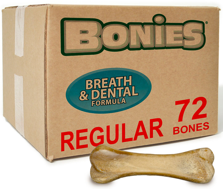 Image of BONIES® Natural Dental Health BULK BOX LARGE/REGULAR - 72 Bones - For Dogs - from EntirelyPets