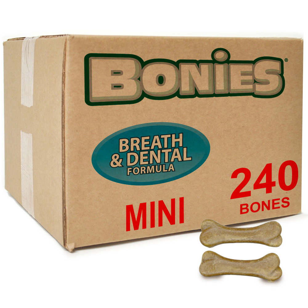 Image of BONIES® Natural Dental Health BULK BOX MINI - 240 Bones - For Dogs - from EntirelyPets