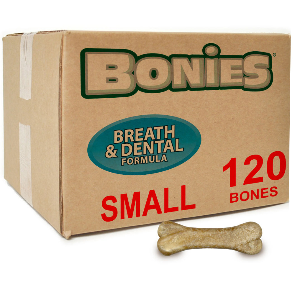 Image of BONIES® Natural Dental Health BULK BOX Small - 120 Bones - For Dogs - from EntirelyPets
