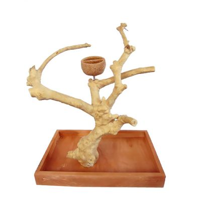 Carved Java Wood Table Top Play Stand - Small