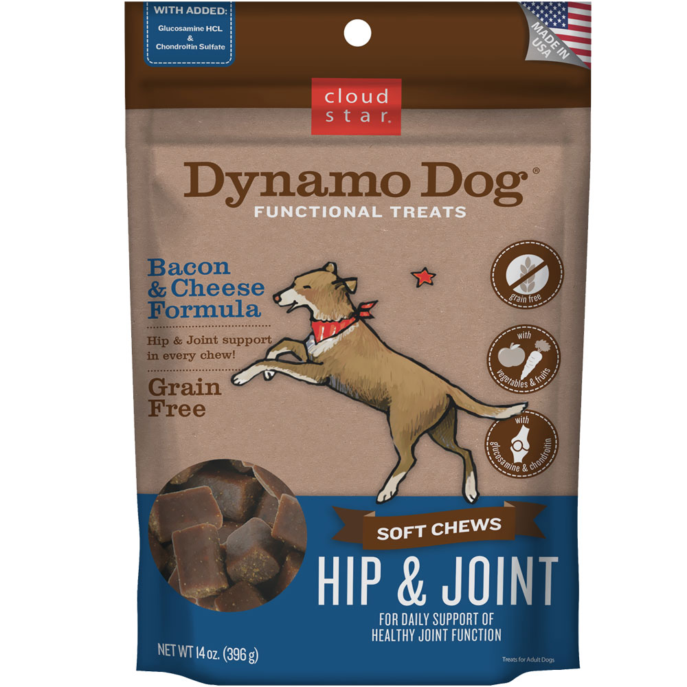 Cloud Star Dynamo Dog Functional Treats - Hip & Joint - Bacon & Cheese (14 oz) im test