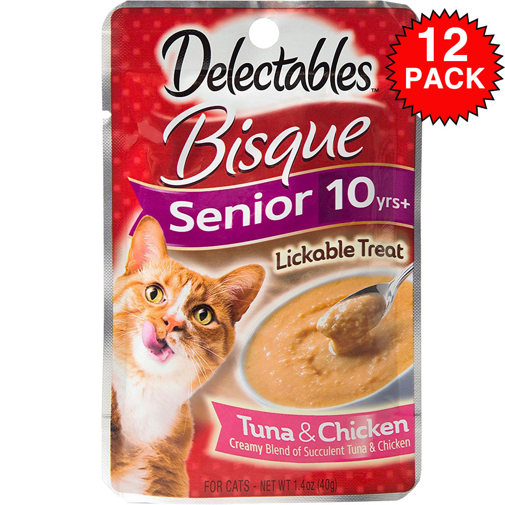 Image of Delectables Bisque Lickable Treat for Senior Cats - Tuna & Chicken (Box of 12)