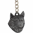 "Dog Breed Keychain USA Pewter - Norwegian Elkhound (2.5"")"