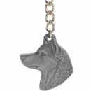 "Dog Breed Keychain USA Pewter - Siberian Huskey (2.5"")"
