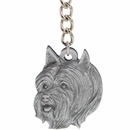 "Dog Breed Keychain USA Pewter - Silky Terrier (2.5"")"
