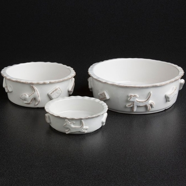 DOG-FOOD-WATER-BOWL-LARGE-FRENCH-WHITE