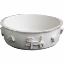 Dog Food/Water Bowl - Large French White