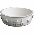 Dog Food/Water Bowl - Medium French White