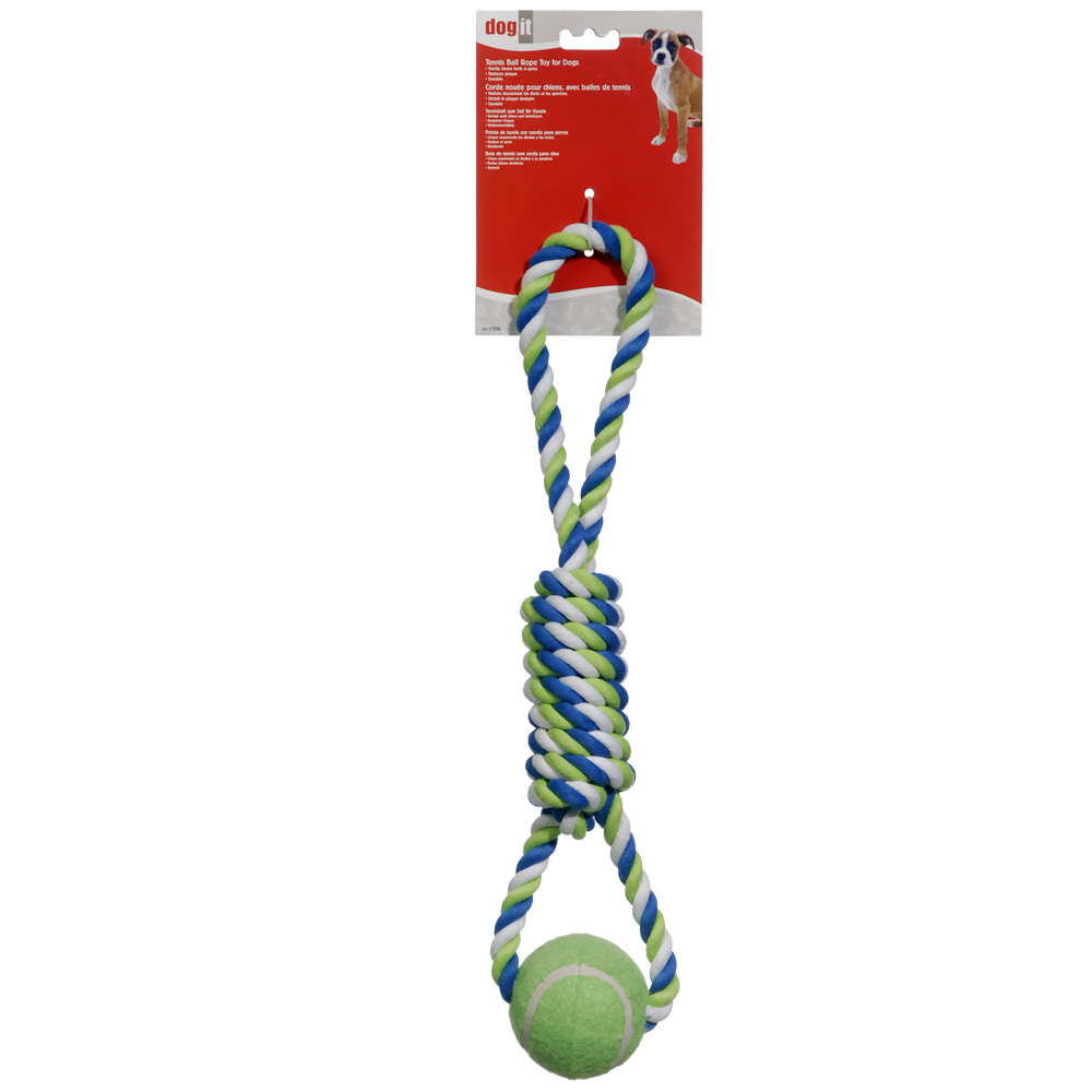 """Dogit Striped Rope Toy with Tennis Ball (18"""")"" im test"