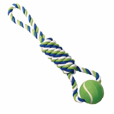 Knotted Rope Dog Toy With Tennis Ball By Dogit Multicolored Spiral Tug