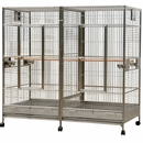 """Double Macaw Bird Cage with Divider - Stainless Steel (80""""x40""""x74"""")"""