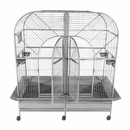 """Double Macaw Bird Cage with Removable Divider - Stainless Steel (64""""x32""""x74"""")"""