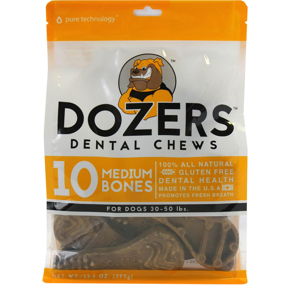 Bag of 10 dozers dental chews for medium dogs