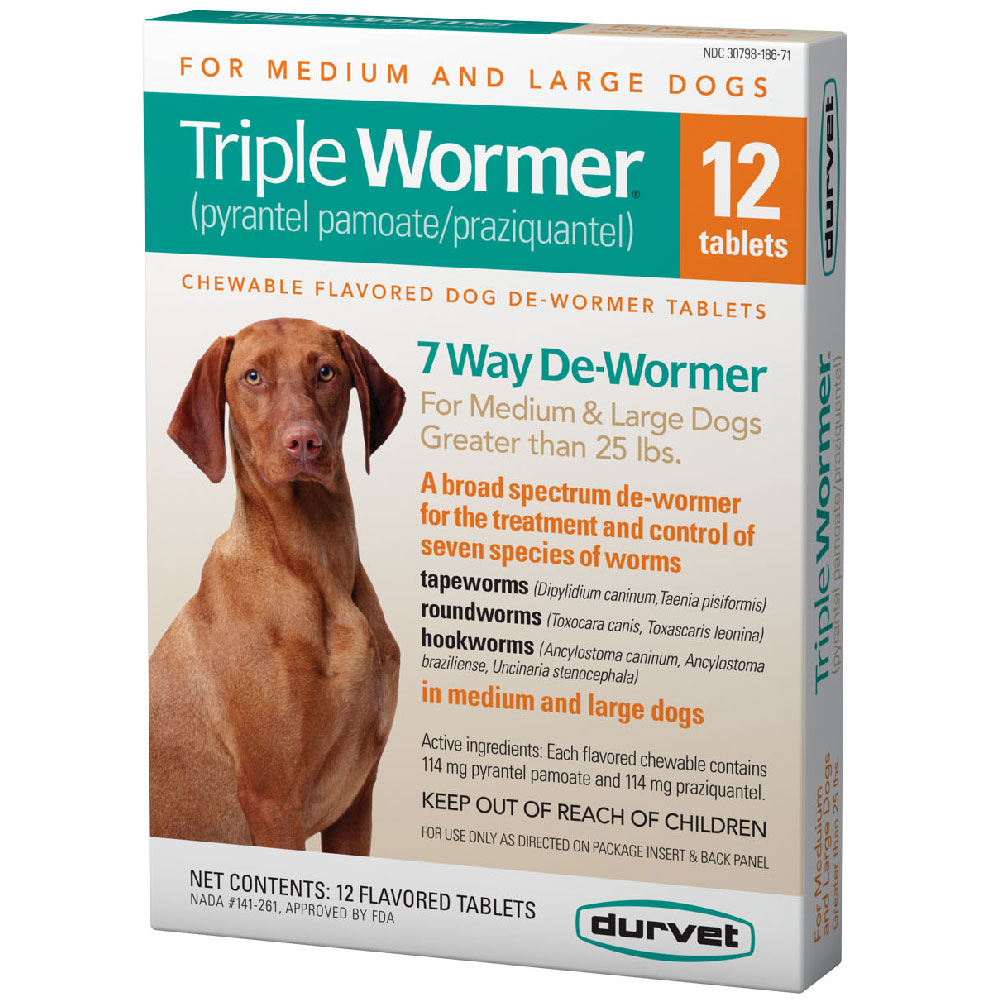 Image of Durvet Triple Wormer for Medium & Large Dogs Over 25 lbs (12 Flavored Tablets)