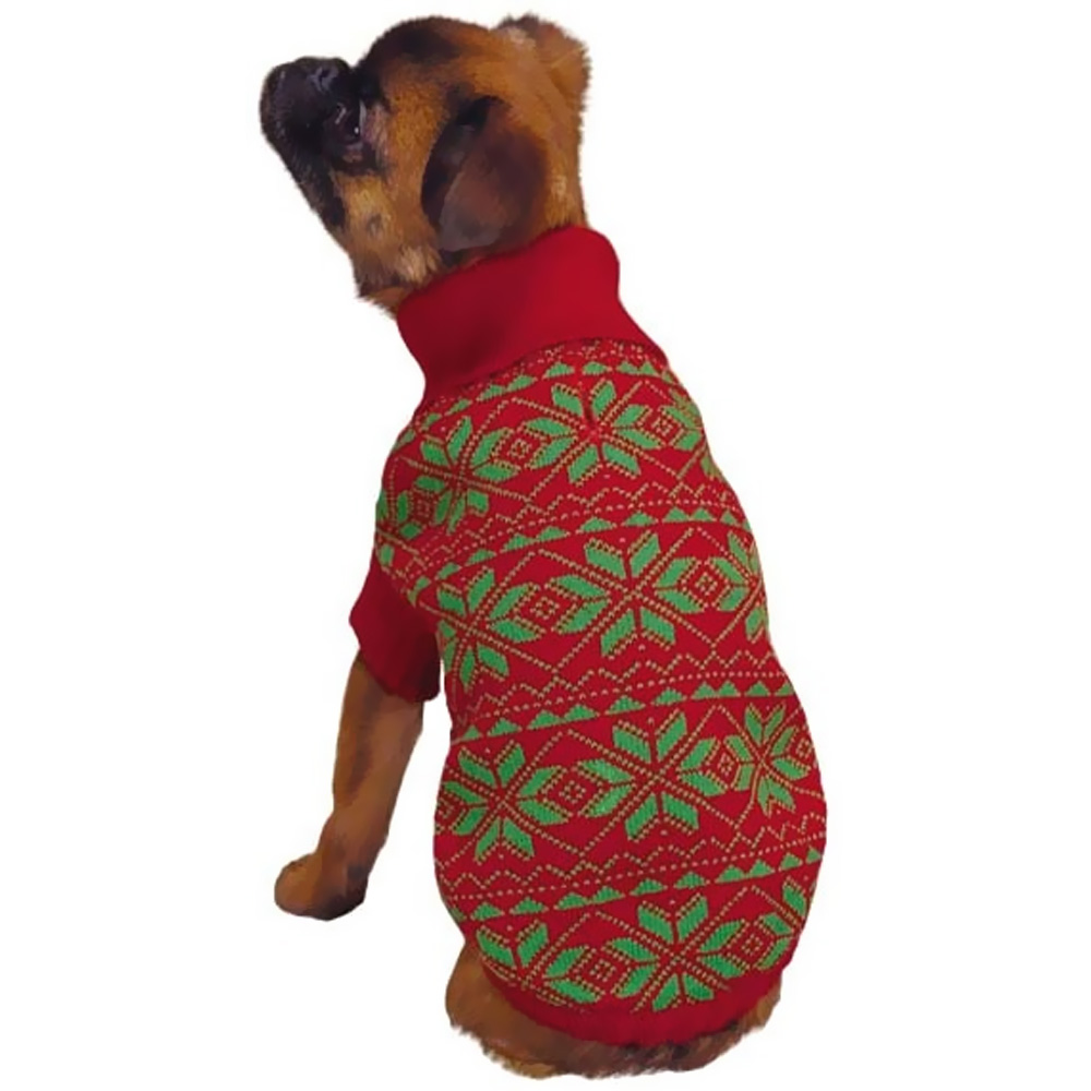 East Side Collection Holiday Snowflake Sweater Red - X-SMALL im test