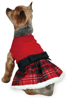 Image of East Side Collection Yuletide Tartan Party Dress Small Red in Red/Black/White - For Dogs - from EntirelyPets